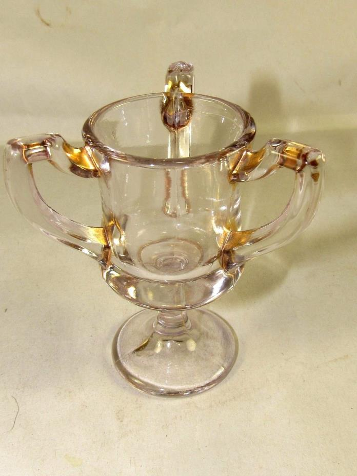 US Glass EAPG Toothpick Holder Loving Cup 3 Handle Clear w/Gold Free US Ship #63