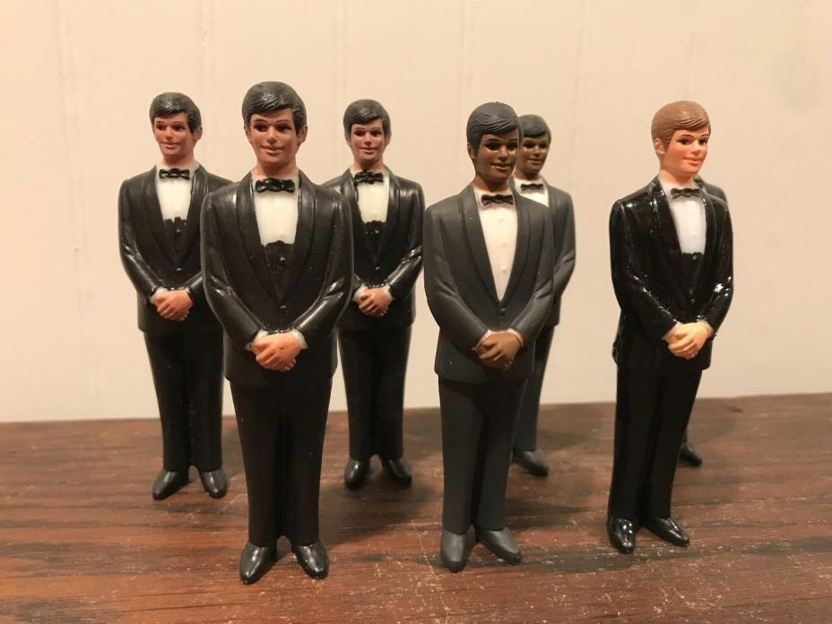 7 Vintage Wedding Groomsmen Groom Black Tux Cake Topper Decorations Lot# 46