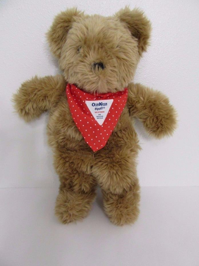 Oshkosh B'gosh Eden Plush Tan Brown Teddy Bear Bandana Stuffed Animal Toy 15