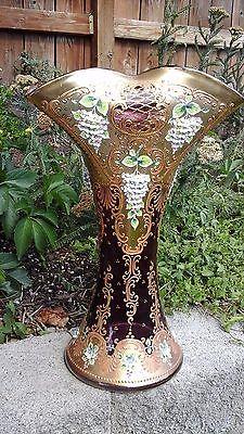 Antique MOSER Cranberry Bohemian Czech Glass PORCELAIN Encrusted Gilt VASE 15