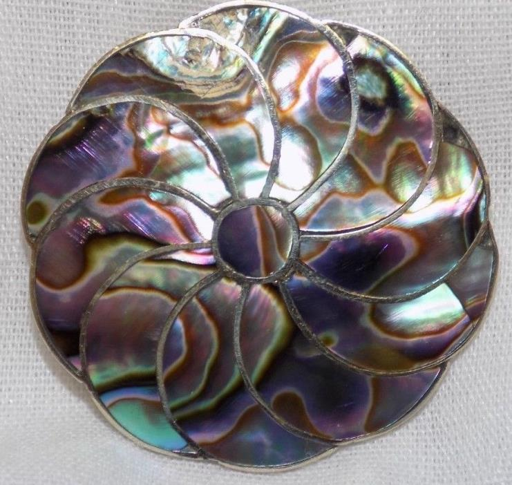 Vtg Alpaca Mexico Silver Pin  Abolone Mother Of Pearl Inlay