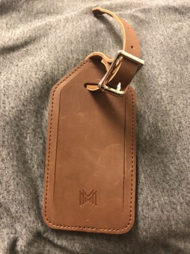 Luggage Tag Bag Tag Luxury Leather Brown Tag Adjustable Length
