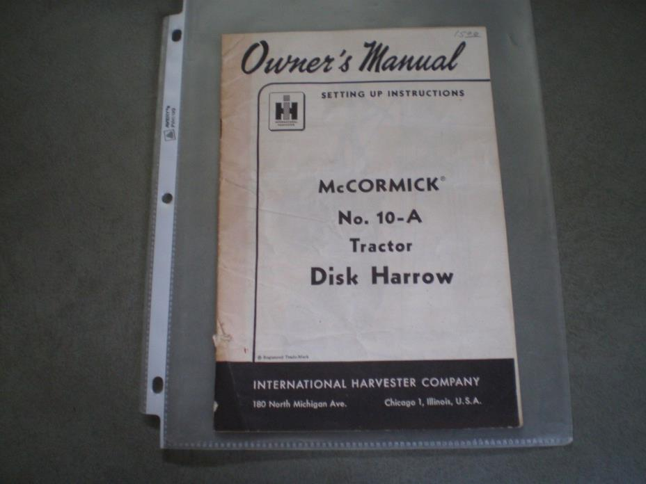 McCormick No. 10-A Tractor Disk Harrow, Owners Manual  7/22/1955