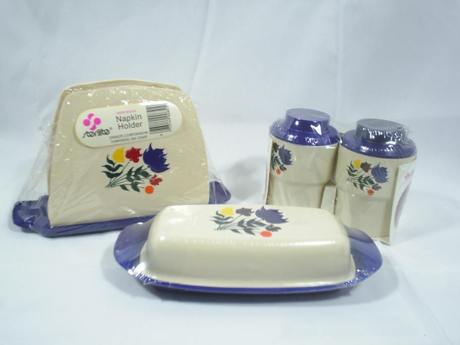 Vintage Kitchen Table Top Accessory Set Floral Gadget Sterilite Plastic Acrylic