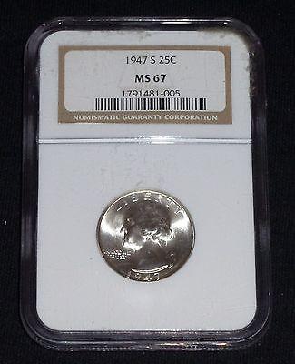 1947-S Gem BU Silver Washington Quarter NGC MS67 LUSTROUS PQ!