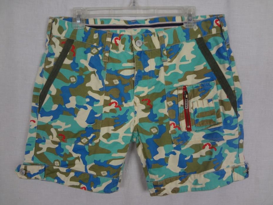 Evisu Camouflage Jeans Shorts ~ Blue Green Red White ~ 100% Cotton ~ sz 34