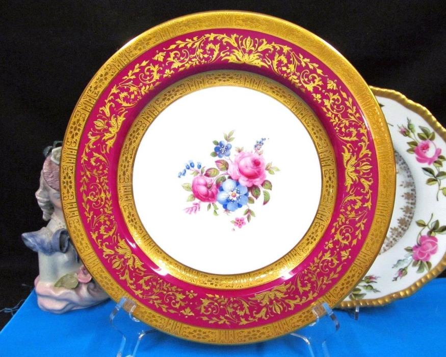 STAR PARAGON PLATE RAISED GOLD GILT & BEADED WITH PAINTED FLOWERS ETCHED 24KT