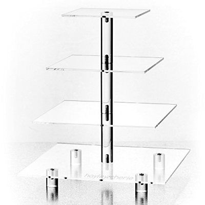 Hayley Cherie 4-Tier Square Cupcake Stand Acrylic Tiered Cake Dessert or Tower