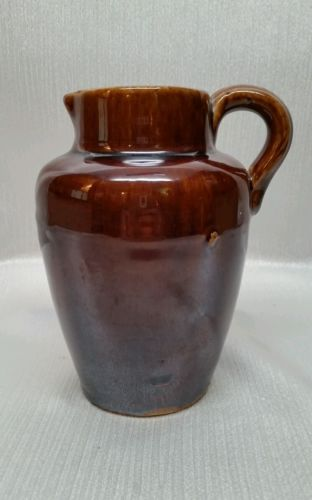 ANTIQUE BROWN GLAZE STONEWARE JUG *6