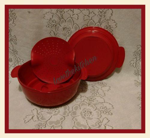 Tupperware Crystalwave Microwave Steamer Bowl Red 10 Cups New