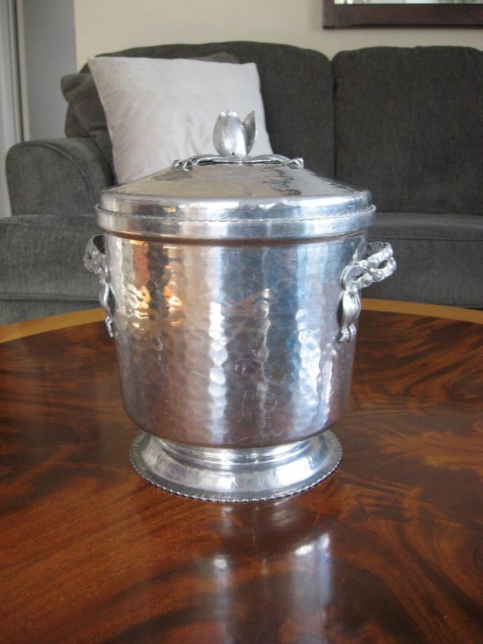 1950's Rodney Kent Hammered Aluminum Ice Bucket, Tulip Motif