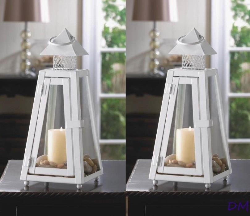 Two Contemporary Small White Summit Candle Lanterns Pyramid Roof Centerpieces