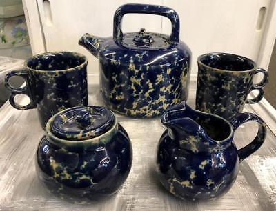 Bennington Potters Cobalt Spongeware Teapot  2 Double Ring Mugs Cream & Sugar