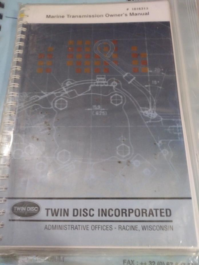 TWIN DISC 1016313 MARINE GEAR Transmission Owners Manual NEW