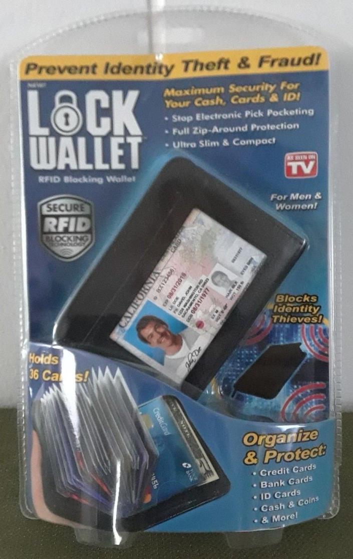 Ontel Lock Wallet Blocks Identity Thieves RFID Blocking Wallet *Free Ship*