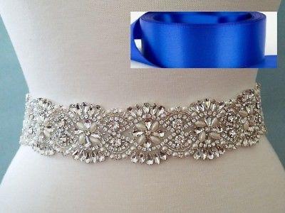 18 INCH LONG Crystal Pearl Wedding Dress Sash Belt = ROYAL BLUE RIBBON