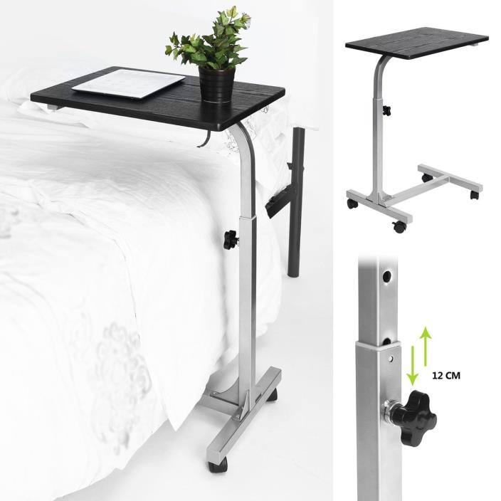Rolling Adjustable Overbed Table Laptop Wheels Desk Food Medical Hospital Tray