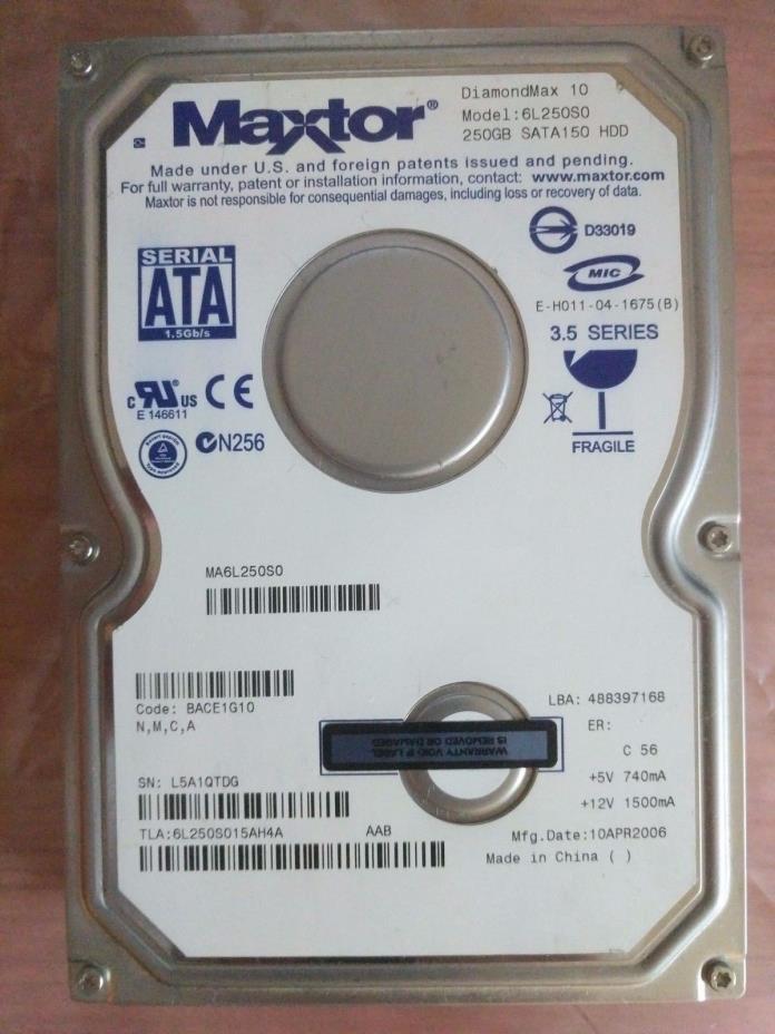 Maxtor 250GB SATA Hard Drive {6L250S0}