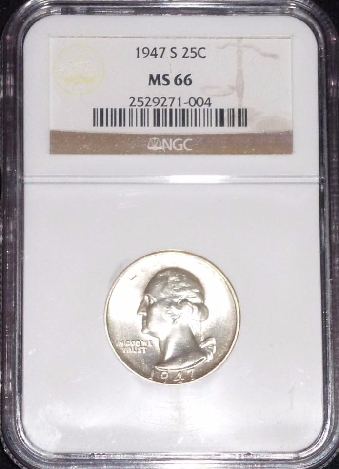1947-S Gem BU Silver Washington Quarter NGC MS66 LUSTROUS PQ!  (1-004)