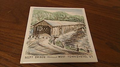 Signed R.Brooks Scott Covered Bridge West Townshend VT Tile Trivet VINTAGE   #15