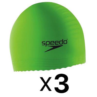 Speedo Solid Latex Swim Cap Bright Green Unisex UV Protection Flexible (3-Pack)