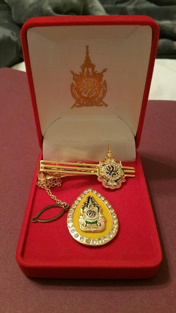 Royal Thai Jewelry Boxes King Rama 9 & Tie Clip & Lapel Pin