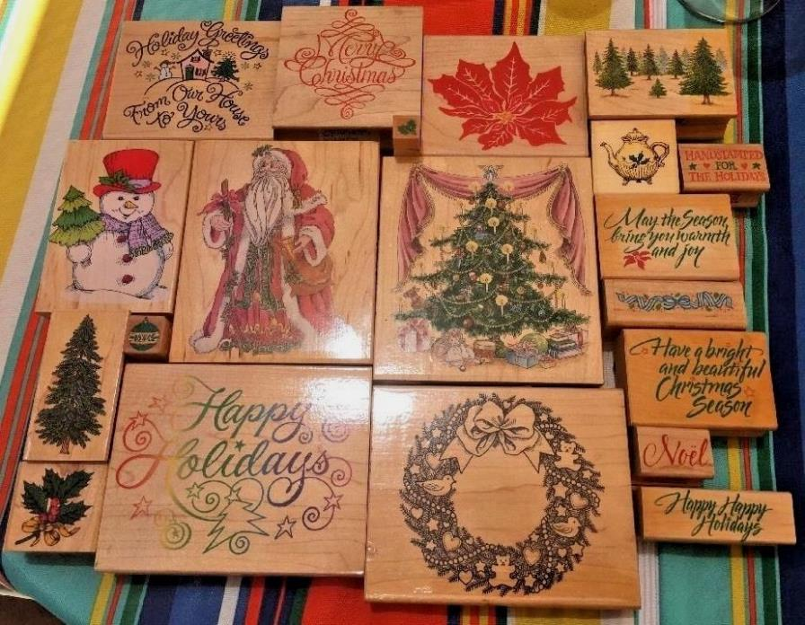 Christmas Theme Rubber Stamps Happen Hero All Night Uptown Stampede City WM LOT