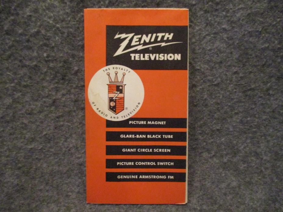 Zenith Television Vintage Advertising Brochure Booklet Poster Form No T-9178