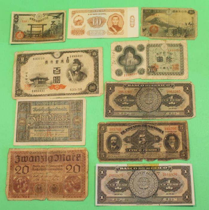 Antique & Vintage Paper Money Cash Japan Asia German Nice Lot 1 w/ Drink Recipe