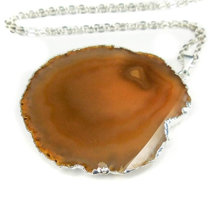 Brown Agate Slice Necklace Silver Crystal Pendant M39E Healing Crystals Stones