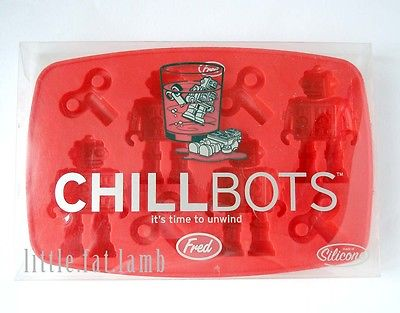 Fred Cute Chill Bots Robot & Wind Shaped Ice Cube Tray Silicone Mold Mould