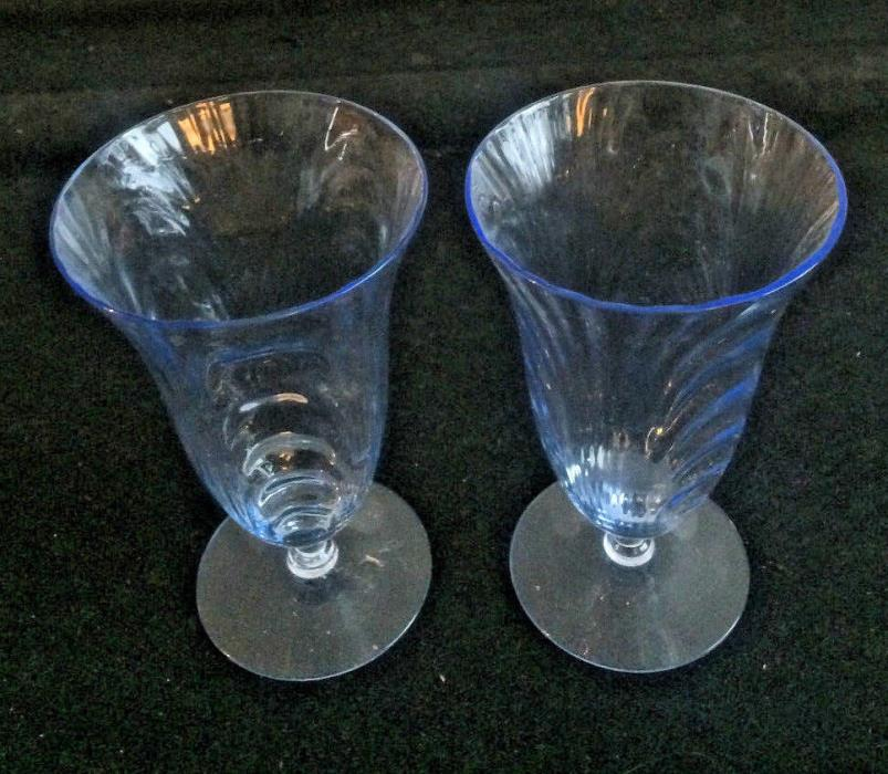 2 Cambridge Caprice Moonlight Blue Footed Ice Tea Tumblers / Stem 6 1/8 Inches