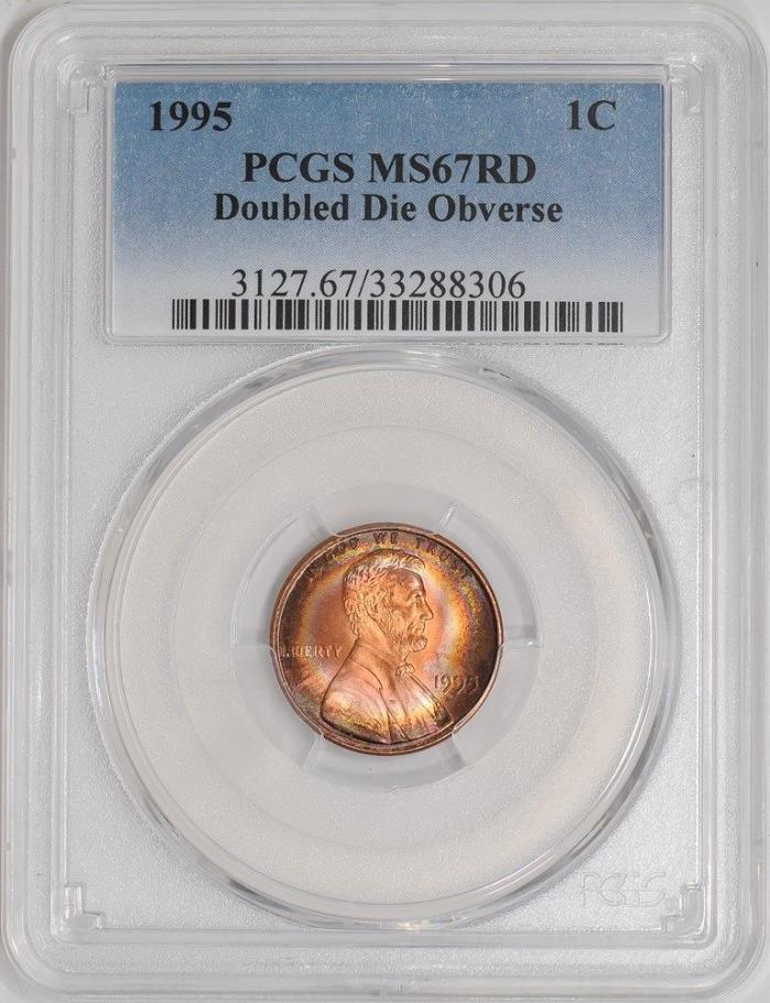 1995 Lincoln Cent 1c Memorial Penny Doubled Die Obverse MS67 RD Color+ PCGS