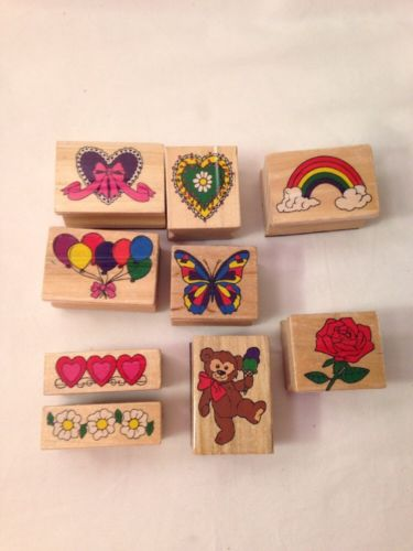 Melissa And Doug 9 Rubber Wooden Stamps Balloons Rainbow Rose Heart Butterfly