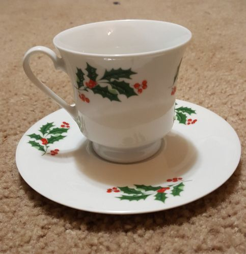 Christma Holly Berries Cup & Saucer Porcelain China