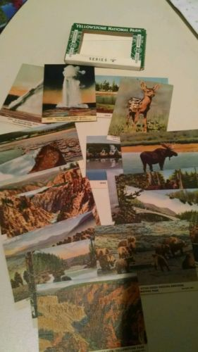 1940'S YELLOWSTONE NATIONAL PARK ~ 19 MINIATURE POSTCARDS ~OLD FAITHFUL, WYOMING
