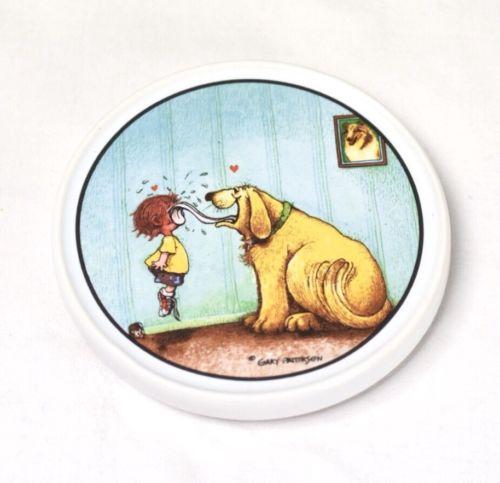Gary Patterson Ceramic Coasters Girl Dog Non Stick Back Clay Design 4x4