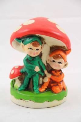 Vintage Retro 2 Pixie Elfs Holding Hands Under Mushroom Paper Mache Coin Bank