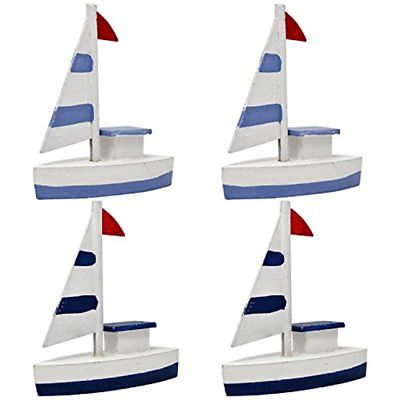Set Of 4 Decorative Miniature Nautical Wooden Sailboats Toy Ship Model Figurine