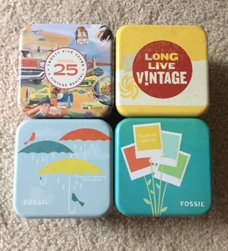 Lot of 4 FOSSIL Watch Tins 25th Anniversary Long Live Vintage Spring