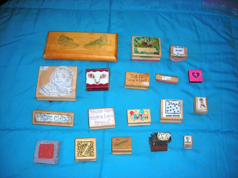 18 different rubber stamps Large and Small