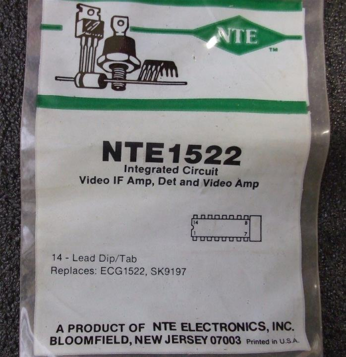 Quantity 1 - Vintage NTE1522 Video IF Amp, Detector & Video Amp IC