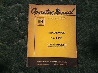 1006390R2 - is a New Original Operators Manual for a McCormick No. 1-PR Picker