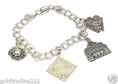 VINTAGE FOUR CHARMS ITALY CHAIN BRACELET 925 STERLING BR 1040