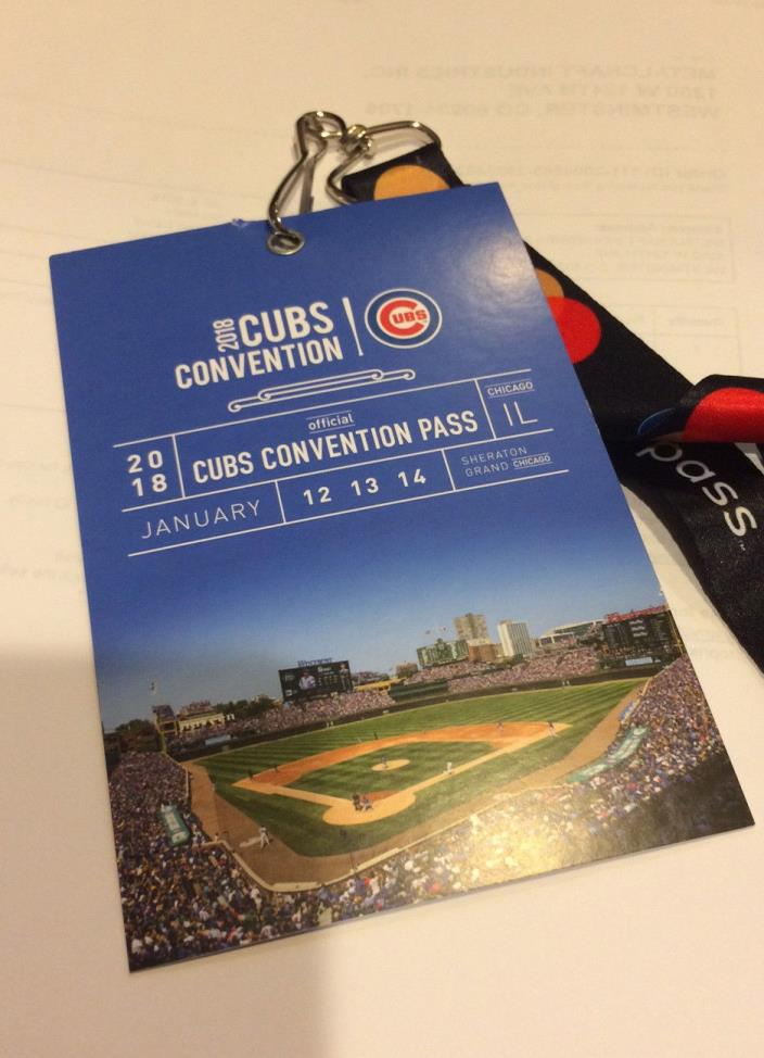 2018 Chicago Cubs Convention 3 Day Pass / Ticket- Sheraton Grand Chicago