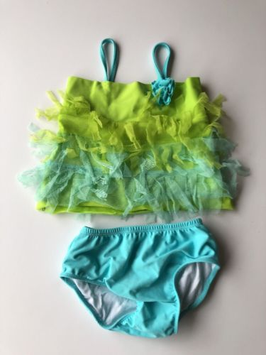 Kate Mack Size 4T Girls Swimsuit Tankini Green Blue Tulle Boutique Style