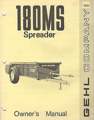 GEHL COMPANY 180MS SPREADER FORM 900550 OWNER'S MANUAL (156)