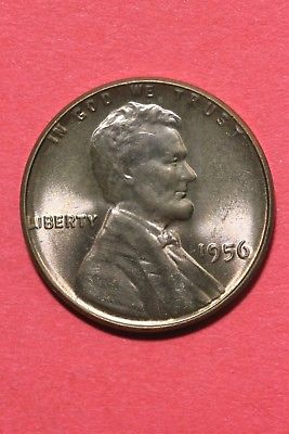 1956 P BU Lincoln Wheat Cent Penny Exact Coin Pictured Flat Rate Shipping TOM08