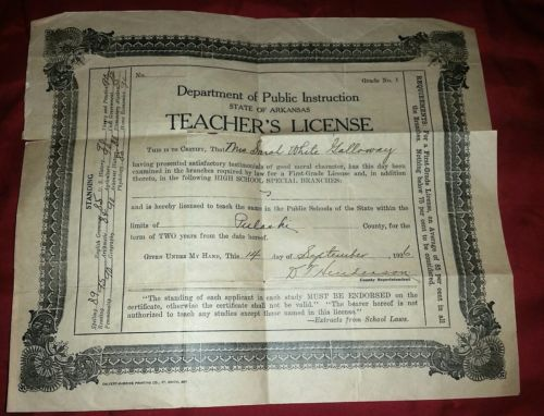 1926 Teacher's License-State of Arkansas