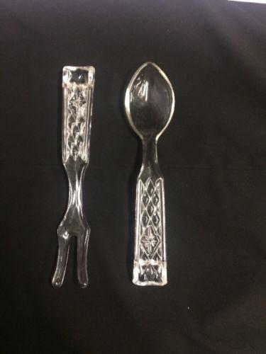 Vintage Salad Serving Fork/Spoon Set Heavy Glass Diamond Pattern